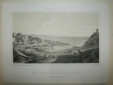 PAYS-BASQUE - VUE de BIARRITZ - PORT VIEUX - 19ème LITHOGRAPHIE ancienne
