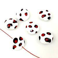"""Handmade Lampwork Glass """"Panda"""" Beads 18mm 6pcs (A32) Free Shipping"""