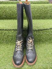 Dr Marten Women Airwair Knee High Boots Black Leather Tie Full Zipper EU 37 UK 4