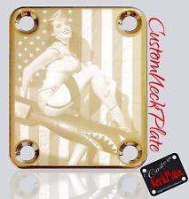 Gold PU Sharkie Engraved Guitar Neck Plate fits Fender pbass,Telecaster, Strat