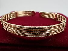 Ladies 14ct 9ct Yellow Gold GF Multi Line Womens Mens Solid Cuff Bangle Bracelet