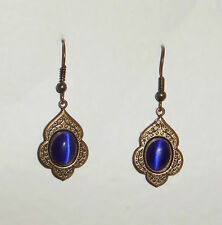 PERSIAN ART STYLE DEEP BLUE GLASS DARK GOLD PLATED DROP EARRINGS HOOK