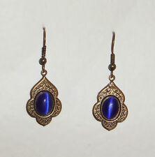 PERSIAN ART STYLE DEEP BLUE GLASS DARK GOLD PLATED DROP EARRINGS HOOK