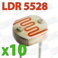 Fotorresistencia LDR GL5528 10K - 1M ohm 150v 100mW - Lote 10 unidades - Arduino