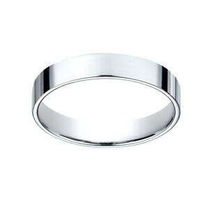 14K White Gold 4.0 mm Traditional Flat Wedding Band Ring Size 9
