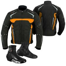 Men Motorbike Leather Boot Motorcycle Cordura Clothing Jacket HALLOWEEN OFFER