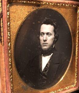 1850s Daguerreotype Handsome Bearded Man, Original Seals