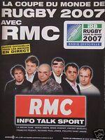 PUBLICITÉ RMC AVEC LA COUPE DU MONDE DE RUGBY 2007 TOUS LES MATCHS EN DIRECT