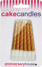 12 METALLIC BIRTHDAY CAKE CANDLES with holders many colours *SAME DAY POST