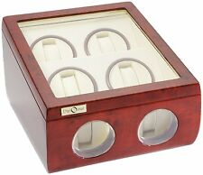 High Quality Diplomat Deluxe Burlwood Quad 4+2 Watch Automatic Winder Box / Case