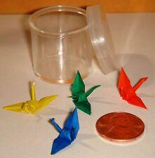 Japanese Miniatures - 4 Tiny Origami Cranes in Plastic Container