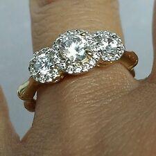 1.25 Carat 10k Yellow Gold 3 stone halo round Engagement Wedding bamboo Ring S 7