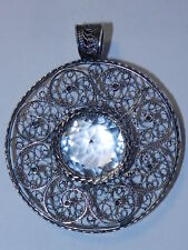 Rare Antique pendant Rock Crystal Sterling Silver 925 big SCAN