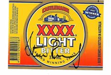 STEVE RENOUF ~ QLD RUGBY LEAGUE GREAT ~ HAND SIGNED BEER LABEL ~ XXXX LITE