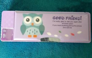 Good Friend! OWL Padded Pencil Case/Box Magnetic PURPLE Two Sided, Sharpener