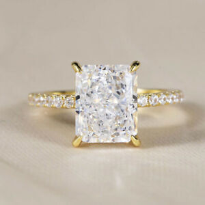 2.89 TCW Radiant Ice Crushed Moissanite Engagement Ring 14k Yellow Gold Plated