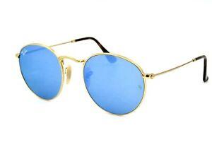 Ray Ban RB 3447-N Round Metal Sunglasses, 001-9O Blue Flash / Gold 50mm #11G