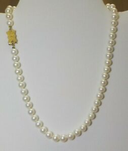 Blue Lagoon White 6mm Pearl Necklace W/14k Yellow Gold Bow Clasp. 58 Pearls.