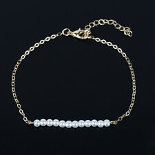 Fashion Women Alloy Pearl Simple Chain Bangle Stitching Bracelet Jewelry Hot