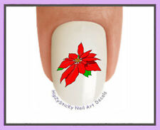 Nail Decals #806X CHRISTMAS Pointsettia Red single WaterSlide Nail Art Transfers