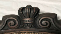 Antique Salvage Victorian Red Maple? Wood Furniture Part Carved Crown 1800s