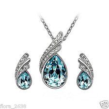 Belle parure argenté, cristal bleu, collier, Boucles d'oreilles bijoux fantaisie