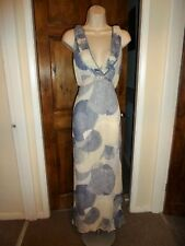 Lovely long blue+cream silk dress from Autograph size 16