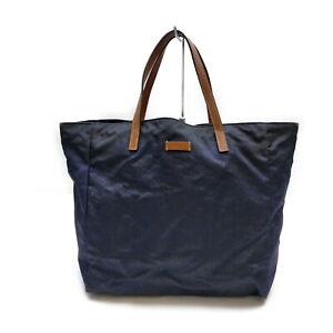 Gucci Tote Bag GG Navy Blue Nylon 2401716