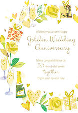 "50th Anniversary Card ""Golden Wedding"" SIZE 6.25"" x 9"" By Ling Design MA249"