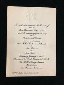 San Francisco 49ers Reception Invitation - Super Bowl XIX - Edward DeBartolo Jr.