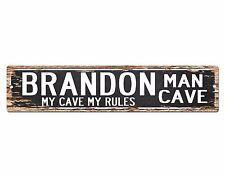 SPMC0068 BRANDON MAN CAVE Rules Street Chic Sign Home man cave Decor Gift