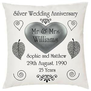 Silver Wedding keepsake cushion personalised names + date ideal anniversary gift