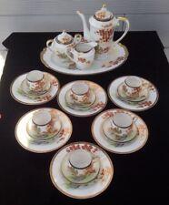 KUTAMI, service à thé pour 6 personnes, porcelaine fine, décoré main, 22 pièces