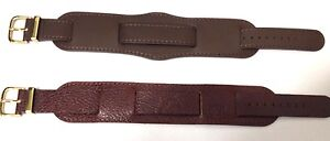 Military Leather burgundy & Brown Watch Strap 18mm GENUINE LEATHER