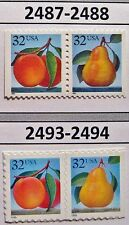 Peach & Pear Set of 4 Booklet Stamps In Scott Order MNH #s 2487 2488 2493 & 2494