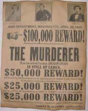 Abraham Lincoln Assassins Wanted Poster, Civil War, John Wilkes Booth