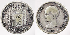 50 CENTIMOS 1892 ALFONSO XIII SPAGNA SPAIN #6822