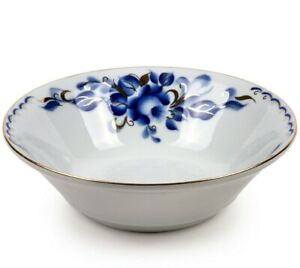 White Porcelain Bowl with Floral Pattern by Dobrush Belarus TATIANA (360 ml)