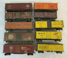 Assortment of 10 HO Scale Wood Woodside Box Cars - Various Road Names