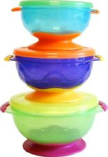 Nuby BABY ANTISCIVOLO Cibo Sigillo Stretto IMPILABILE ASPIRAZIONE Toddler Feeding bowls 2PACK