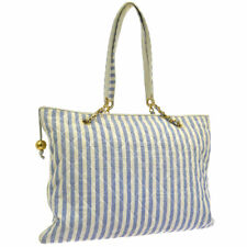 CHANEL Stripe Pattern Chain Shoulder Tote Bag Blue White Canvas AK31819g