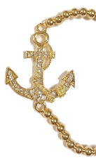 Anchor Charm Connector Rhinestone Goldtone Charm Bead Stretch Fashion Bracelet