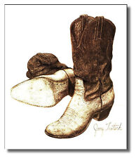 Cowboy Boots Brown&White 16x20 Jerry Teutsch Wall Art Print Picture