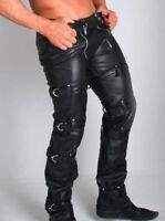 Men/'s Original Leather Indicator Jeans Black Stitching Piping Padded Pants