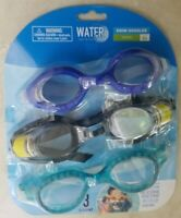WATER SUN & FUN 3-Pack Swim Goggles Polycarbonate Lens W/ UV Protection Youth