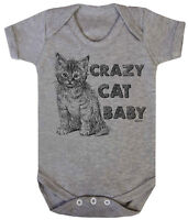 CRAZY CAT BABY Funny Boys Girls Baby Grow Vest Bodysuit Cute Kitten Gift Clothes