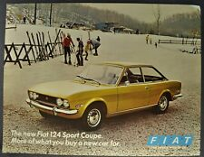1970-1971 Fiat 124 Sport Coupe Sales Brochure Sheet Excellent Original
