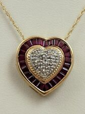14K YELLOW GOLD RUBY DIAMOND HEART NECKLACE PENDANT