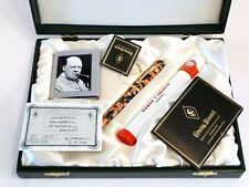 CONWAY STEWART CHURCHILL L. E. ROLLERBALL PEN IN ACRYLIC WITH 18K GOLD RINGS