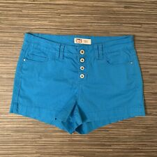 LEI Junior's Size 11 Tatum High Rise Button Fly Shorts Turquoise Cotton Spandex